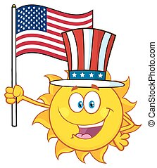 Sun With Patriotic Hat Holding Flag