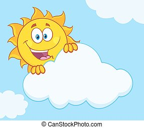 Happy Sun Hiding Behind Cloud - Happy Summer Sun Mascot...