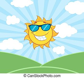 Sun With Sunglasses Over Landscape