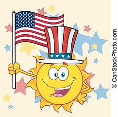 Sun Character With Patriotic Hat - Cute Sun Cartoon Mascot...