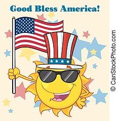 Sun Holding An American Flag