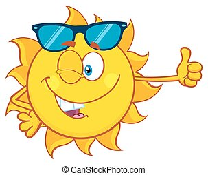 Winking Sun Giving The Thumbs Up