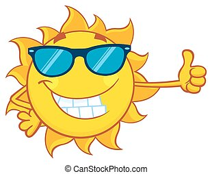Smiling Sun With Sunglasses - Smiling Sun Cartoon Mascot...