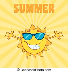 Smiling Sun With Background - Smiling Sun Cartoon Mascot...