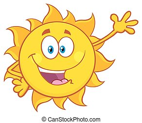 Smiling Sun Waving For Greeting - Smiling Sun Cartoon Mascot...