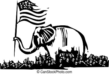 Republican Elephant and Refugees - Woodcut Style image of an...