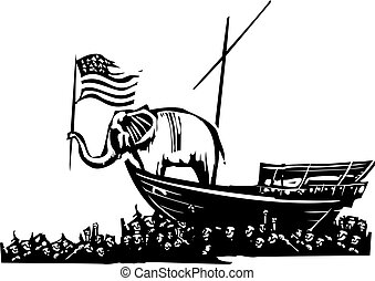 Republican Elephant and Sea of Refugees - Woodcut Style...
