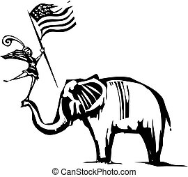 Republican Elephant Circus - Woodcut Style image of an...
