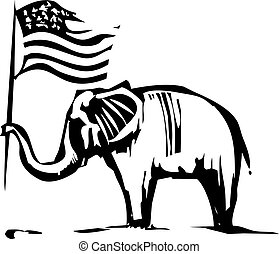 Republican Elephant - Woodcut Style image of an Elephant...