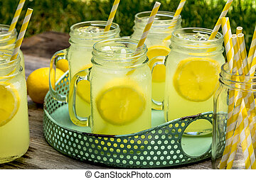 Fresh Squeezed Lemonade in Mason Jars - Glass mason jars...