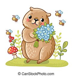 Vector illustration of a gopher and bees. Gopher in a meadow...