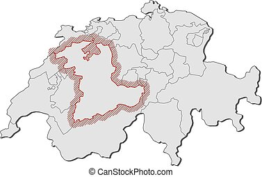 Map - Swizerland, Bern - Map of Swizerland with the...