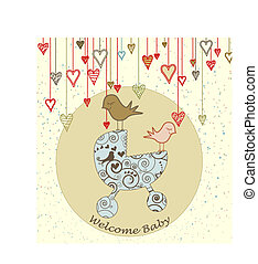 Baby Arrival Card with Birds and Stroller - A cute card with...