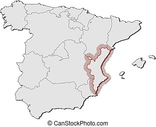 Map - Spain, Valencian Community