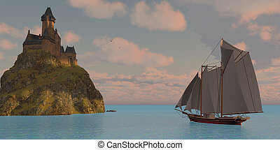 Lake Schooner and Castle - A lake schooner sails to an...