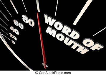Word of Mouth Buzz Referrals Words Speedometer 3d Illustration