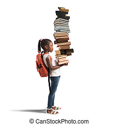 Pile of books for a little girl - Child with backpack and a...