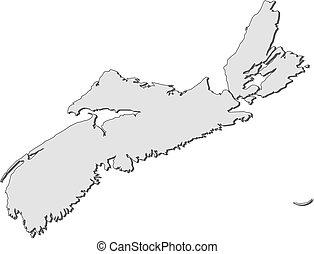 Map - Nova Scotia (Canada) - Map of Nova Scotia, a province...
