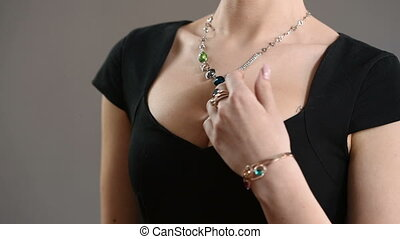 necklace on the neck breast closeup - necklace on the neck...