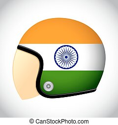 Retro Motorcycle Helmet With Flag of india - Vector stock of...