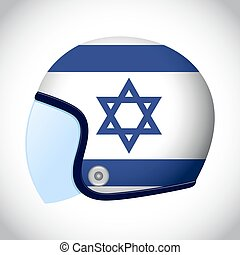 Retro Motorcycle Helmet With Flag of Israel - Vector stock...