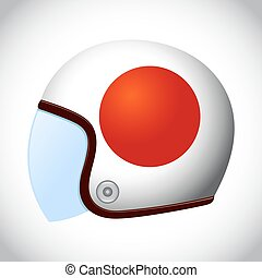 Retro Motorcycle Helmet With Flag of Japan - Vector stock of...