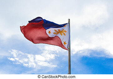Philippine flag on sky photo - Photograph image of a waving...