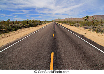 Mojave Roadway - Desert Highway in Mojave National Preserve,...