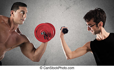 Ironic comparison of muscle strength - Boys are confronted...