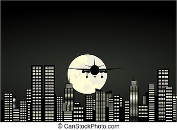 The plane comes on planting in a night city. A vector illustration