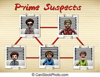 Photos of men being prime suspect illustration
