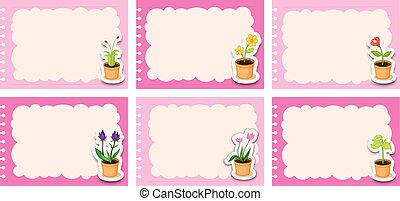 Pink labels with flower pots illustration