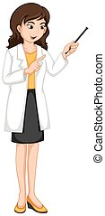 Female ophthalmologist checking eyes illustration