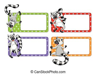 Label design with lemur illustration