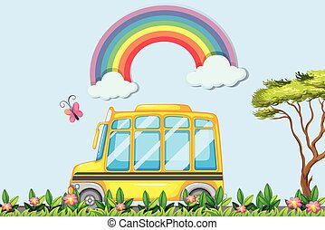 Yellow school bus in the park illustration