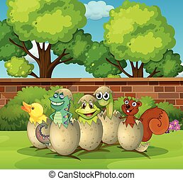 Animals in eggshells in the park illustration