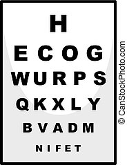 Reading chart for ophthalmologist illustration