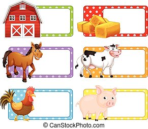 Labels with different farm animals illustration