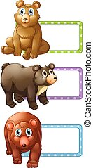 Polkadot lables with bears illustration