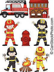 Fire fighters and other equipments illustration