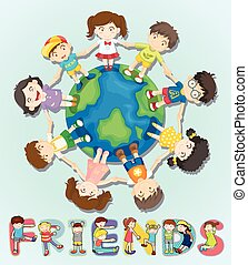 Boys and girls standing around the world illustration