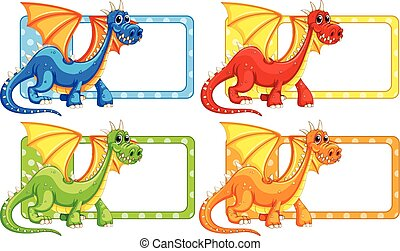 Polkadot labels with wild dragon illustration