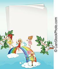 Paper design with fairies and rainbow illustration