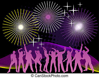 4th july party - illustration of people silhouettes dancing...