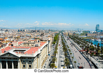 Barcelona, Spain - Aerial view of Passeig de Colom and the...