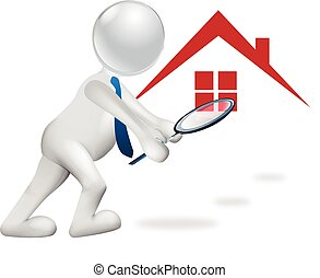 3D man searching a house vector