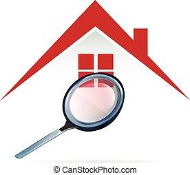 casa, buscando, logotipo