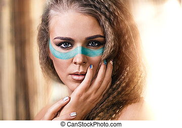Woman with traditional make-up native americans