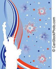 4th july background - illustration from the statue of...