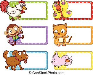Polka dot labels with cute animals